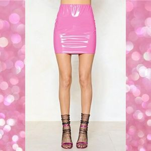 Nasty Gal Bubblegum Vinyl Word Mini Skirt US 8
